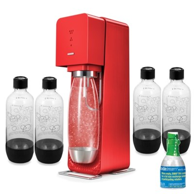 Source Soda Maker (Metal) in Red with Exclusive Kit w/ 4 Bottles & Starter CO2