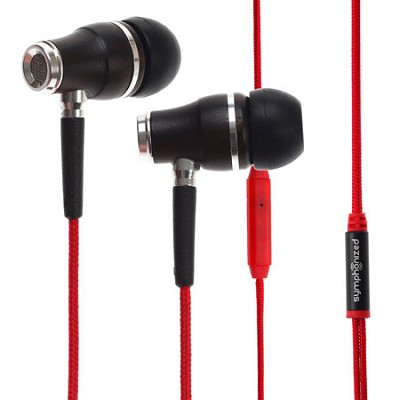 NRG Premium Genuine Wood In-ear Noise-isolating Headphones with Mic (Red)