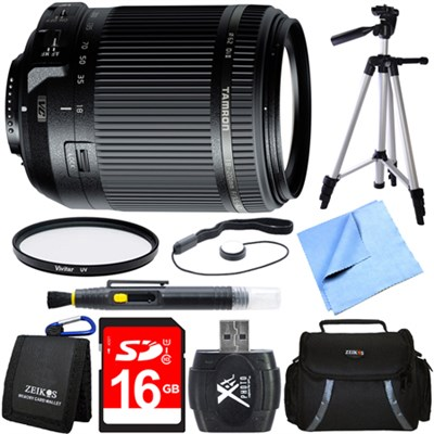 18-200mm Di II VC All-In-One Zoom Lens for Nikon Mount 16GB Memory Card Bundle