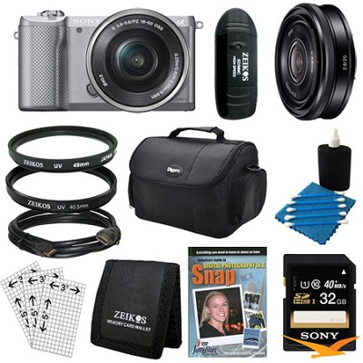 a5000 Compact Interchangeable Lens Camera Silver 16-50mm & 20mm F2.8 Lens Bundle
