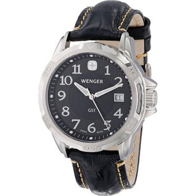 Men's GST Swiss Watch - Black Dial/Black Leather Strap
