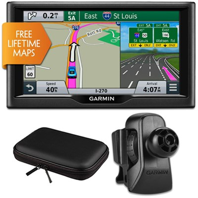 nuvi 67LM 6` Essential Series 2015 GPS w Lifetime Maps Vent Mount & Case Bundle