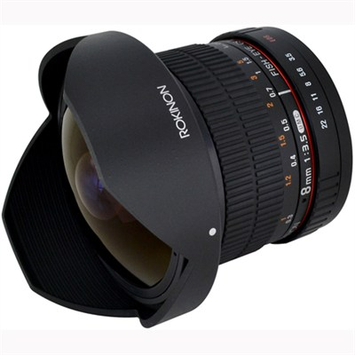 8mm f/3.5 HD Fisheye Lens./Removeable Hood/Sony E-Mnt DSLR (HD8M-NEX) - OPEN BOX