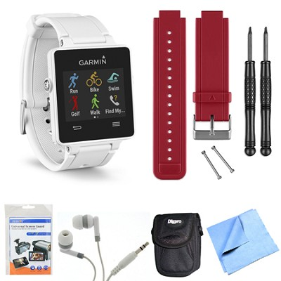 vivoactive GPS Smartwatch - White (010-01297-01) Red Replacement Band Bundle