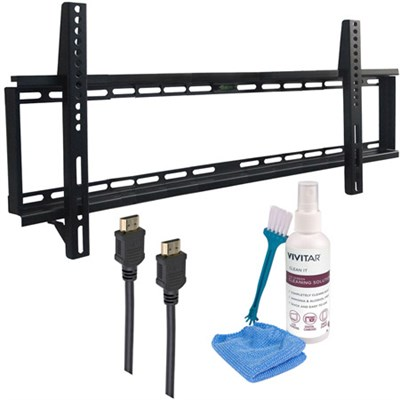 37-70` Low Profile Wall Mount Kit - Includes 2 HDMI Cables & Screen Cleaning Kit