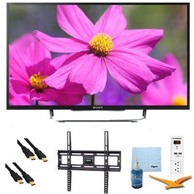 55` LED HDTV 3D WiFi Motionflow XR 480 Plus Mount & Hook-Up Bundle - KDL55W800B