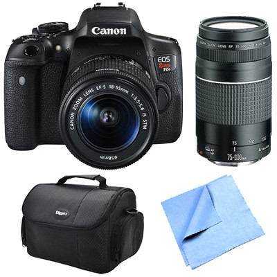 EOS Rebel T6i Digital SLR Camera w/ EF-S 18-55mm IS STM and 75-300mm Lens Bundle