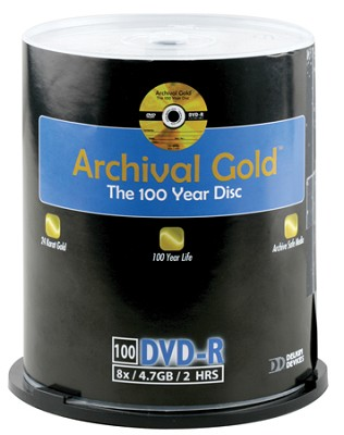 Archival Gold DVD-R Retail Cakebox Spindle (100 discs)