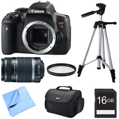 EOS Rebel T6i Digital SLR Camera Body with EF-S 55-250mm Telephoto Lens Bundle