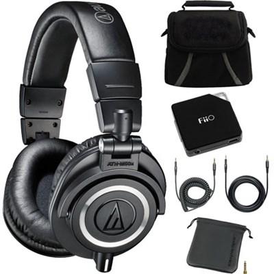 ATH-M50X Professional Studio Headphones (Black) + Fiio E6 Amplifier + Bag