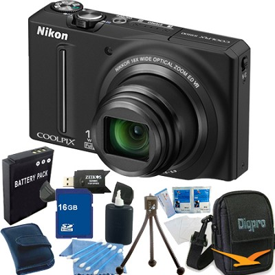 COOLPIX S9100 12MP Black Digital Camera 16GB Bundle