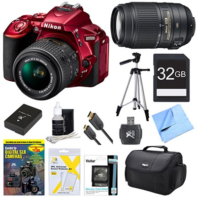 D5500 Red DSLR Camera 18-55mm Lens, 55-300 Lens, 32GB, and Battery Bundle