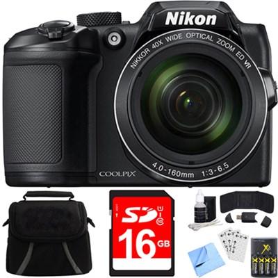 COOLPIX B500 16MP 40x Optical Zoom Digital Camera (26506), Built-in Wi-Fi Bundle