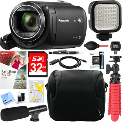 HC-V380K Full HD Camcorder (Black) + 32GB Memory & Microphone Accessory Bundle