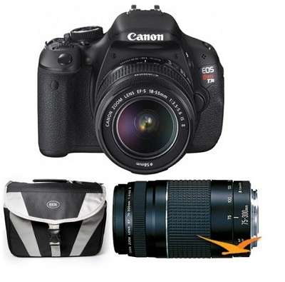 EOS Digital Rebel T3i 18MP SLR Camera 18-55mm & 75-300mm Bundle