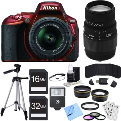 D5500 DX-format DSLR Camera w/ NIKKOR 18-55mm + 70-300mm Lens Red Bundle