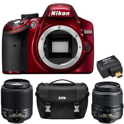 D3200 24.2 MP DX Digital SLR Camera (Red) 2 Lens Ultimate Wireless REFURB Bundle