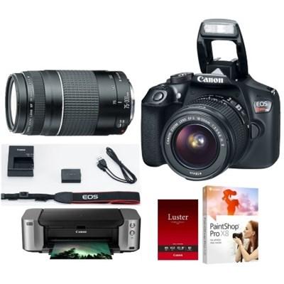 EOS Rebel T6 w/ 18-55 & 75-300 Lenses + Pro 100 Printer/Paper/PaintShop X8
