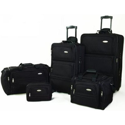 5 Piece Signature Lightweight Travel Luggage Set in Black