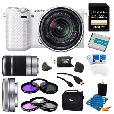 NEX-3NL White Digital Camera 16-50mm Lens 32GB with 2 Lens Bundle