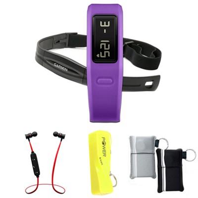 Vivofit Fitness Band Bundle with Heart Rate Monitor Purple w/ Power Bank Bundle