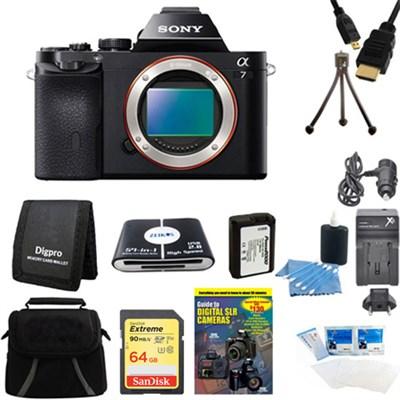 Alpha 7 a7 Digital Camera 64 GB SDXC Card and Battery Bundle