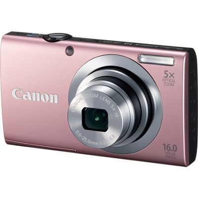 PowerShot A2400 IS 16MP Pink Digital Camera 5x Optical Zoom 720p HD Video