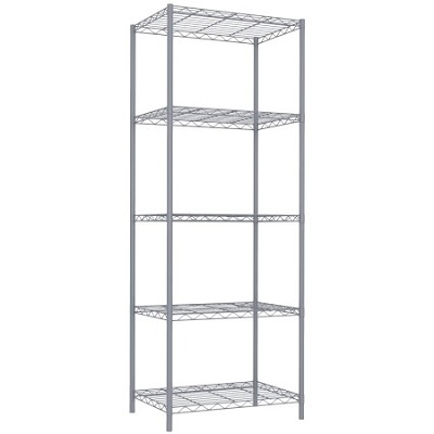 5 Tier Wire Shelving - Grey
