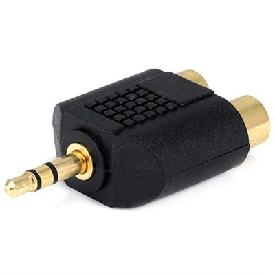 3.5mm Stereo Plug to 2 RCA Jack Splitter Adaptor - Gold Plated