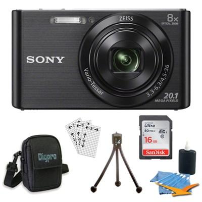 DSC-W830 Cyber-shot Black Digital Camera 8GB Bundle