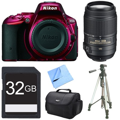 D5500 Red Digital SLR Camera, 55-300 Lens, and 32GB Bundle