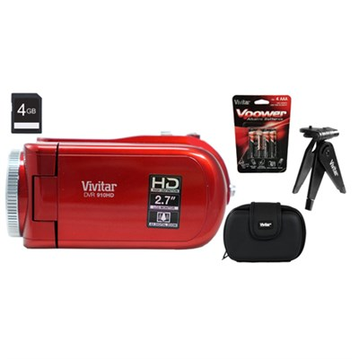 High Definition Digital Video Recorder 910 Red w/ Accessories + 4GB SD Card