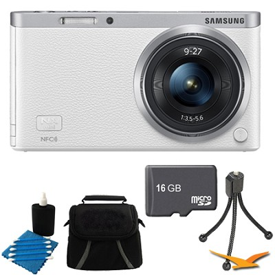 NX Mini Mirrorless Digital Camera with 9-27mm Lens and Flash White Bundle