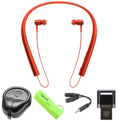 Wireless In-ear Bluetooth Headphones w/ NFC - Red w/ 32 GB Flash Drive Bundle