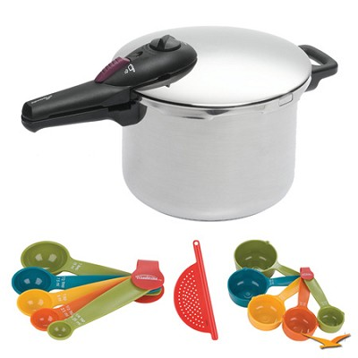 Splendid 6 Qt. Stainless Steel Pressure Cooker, Measuring Sets, Drainer Bundle