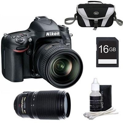 D610 FX-format 24.3 MP 1080p video Digital SLR Camera 24-85mm and 70-300mm Kit