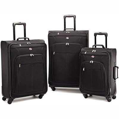 Pop Plus 3 Piece Nested Spinner Luggage Set Black 64590-1041 - OPEN BOX