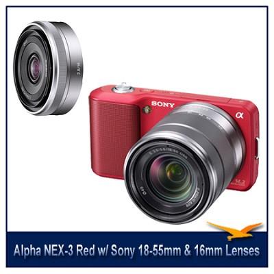 Alpha NEX-3 Interchangeable Lens Red Camera w/18-55mm & 16mm f/2.8 Lenses