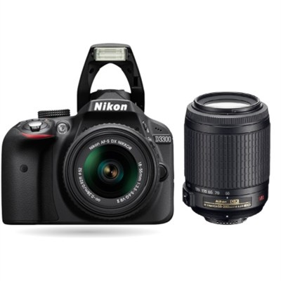 Refurbished D3300 24.2MP Digital SLR with 18-55mm and 55-200mm VR II Lenses