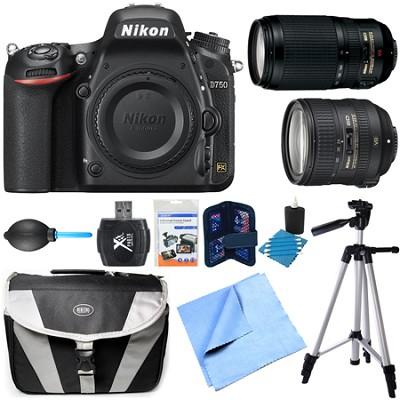 D750 DSLR 24.3MP HD 1080p FX Camera Body 24-85mm and 70-300mm NIKKOR Lens Bundle