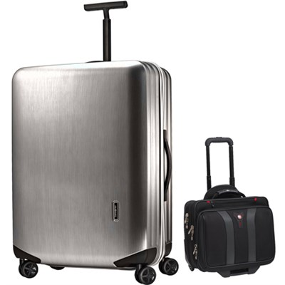 Inova Luggage 28` Hardside Spinner (Silver) Plus Wenger Laptop Boarding Bag