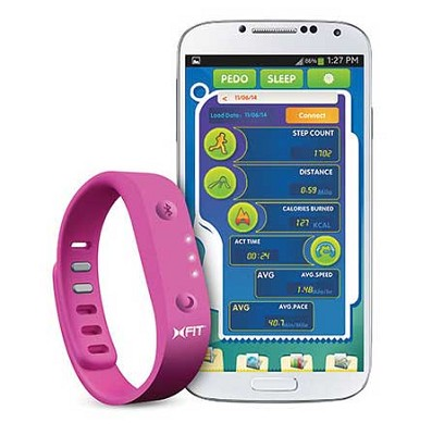 XFit Fitness Band Wireless Activity Sleep Monitor Wristband - Pink/Black