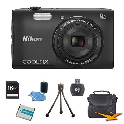 COOLPIX S3600 20.1MP 2.7` LCD Digital Camera with 720p HD Video Black Kit