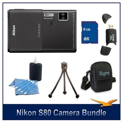 COOLPIX S80 Black Camera 8GB Bundle w/ Case, Reader, Tripod & More
