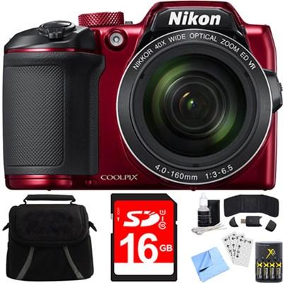 COOLPIX B500 16MP 40x Optical Zoom Digital Camera w/ Built-in Wi-Fi + Batteries
