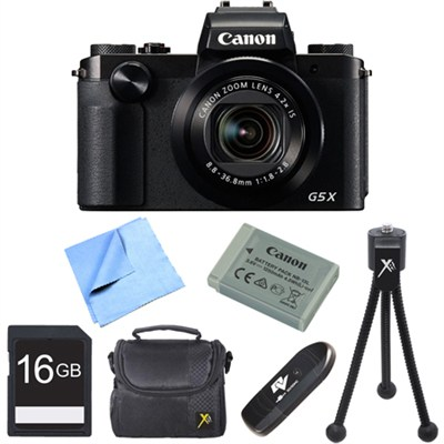 PowerShot G5 X Digital Camera with 4.2x Optical Zoom 16GB Bundle - Black