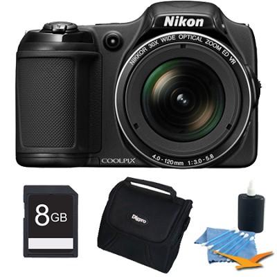 COOLPIX L820 16 MP Digital Camera with 30x Zoom (Black) 8gb Bundle