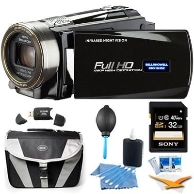 HD 16 MP Infrared Night Vision Camcorder - Black (DNV16HDZ-BK) Plus 32 GB Bundle