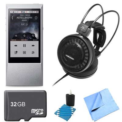 AK Jr. Hi-Res 64GB Music Player ATH-AD500X Audophile Open-Air Headphone Bundle
