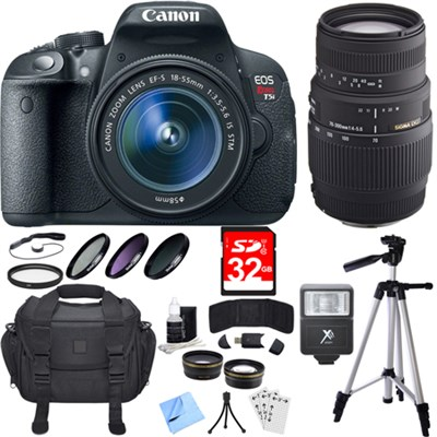 EOS Rebel T5i 18MP SLR Digital Camera with 18-55mm and 70-300mm Lens Bundle